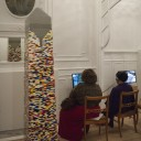 TRACINGS, exhibition in house Kroonstraat, M hka extramuros and collection intervention, 2012, 2 films 'Things', with the obelisk of Luc Deleu